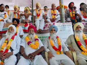 Ex-servicemen during their protest for implementation of One Rank One Pension