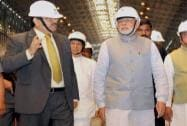 Prime Minister Narendra Modi with Union Minister for Mines and Steel, Narendra Singh Tomar and SAIL Chairman and MD CS Verma