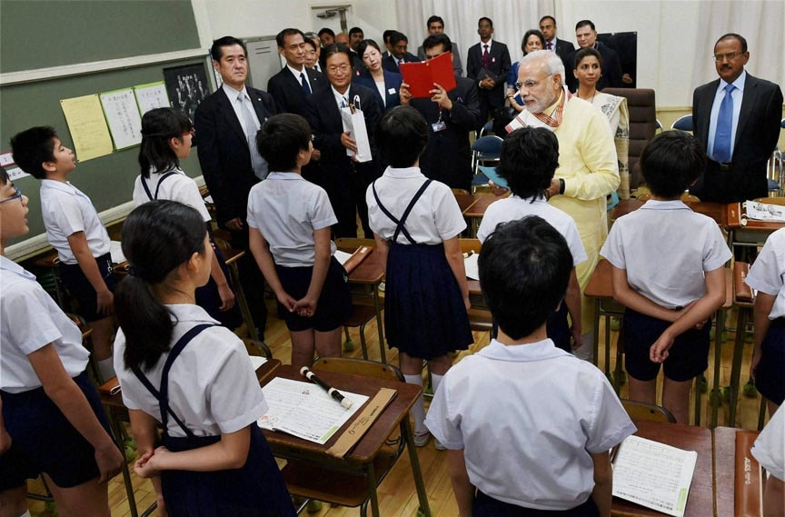 Prime Minister, Narendra Modi, interacts, students, visit, Taimei Elementary school, Tokyo