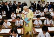 Prime Minister Narendra Modi during a visit to Taimei Elementary school