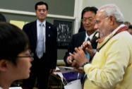 Prime Minister Narendra Modi tries a Japanese flute