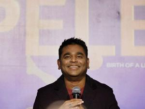 Music Composer A R Rahman during the music launch of the movie 'Pele' in Mumbai