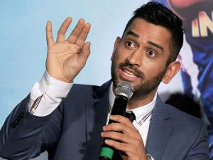 MS Dhoni speaks during the trailer launch of the movie MS Dhoni