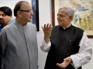 Mufti Mohammad Sayeed with Finance Minister Arun Jaitley