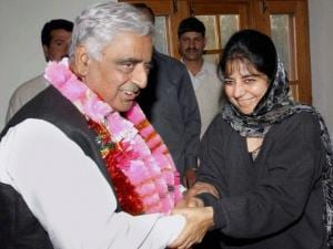 Mufti Mohammad Sayeed with his daughter Mehbooba Mufti