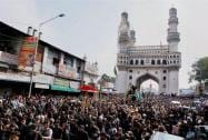 The traditional Bibi Ka Alam procession passes through Charminar in Hyderabad on the 10th day of Muharram