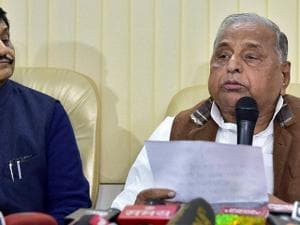 SP supremo Mulayam Singh Yadav addresses a press conference