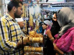 Muslim women busy in shopping at a market
