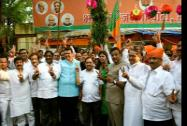 Newly elected BJP MLAs celebrate victory in the Maharashtra Assembly election at the BJP office in Mumbai