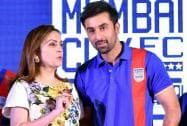 Bollywood actor Ranbir Kapoor with Nita Ambani during the launch of his football club Mumbai City FC