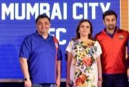 Bollywood actor Rishi Kapoor speaks at the launch of his son Ranbir Kapoor's football club Mumbai City FC