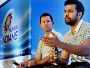 Mumbai Indians' coach Ricky Ponting and captain Rohit Sharma during a press conference in Mumbai.