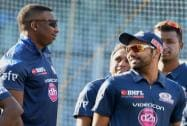 Kieron Pollard and Rohit Sharma during a practice session in Mumbai