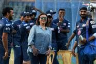Nita Ambani along with players during a practice session in Mumbai