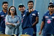 Nita Ambani along with Ricky Ponting and players during a practice session in Mumbai