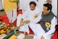 Maharashtra Chief Minister Prithviraj Chavan with Union Minister Venkaiah Naidu