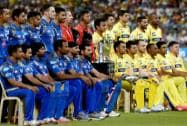 Mumbai India and CSK Cricketers with IPL Trophy