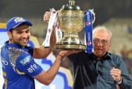 Mumbai Indians captain Rohit Sharma receives trophy from BCCI President Jagmohan Dalmia