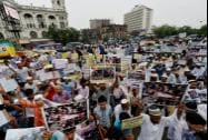 Muslims protest against Israel's military operation for Gaza in Kolkata on Friday