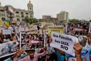 Muslims protest against Israel's military operation in Gaza