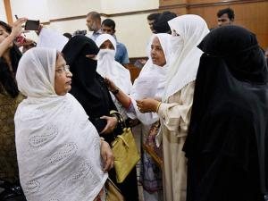 Muslim women during All India Muslim Personal Law Board's press conference