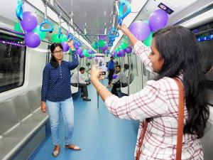 Commuters in a train plying on the newly-inaugurated Green Line of Namma Metro