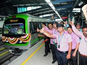 Employees and officials at the newly-inaugurated Green Line of Namma Metro's Phase-1