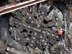 A Tunnel Boring Machine (TBM) breaks through at Kempegowda Station connecting North-South corridor of metro rail, in Bengaluru