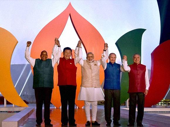 BRICS, BRICS leader, Narendra Modi, Vladimir Putin, Xi Jinping, Jacob Zuma, Michel Temer, President of Brazil, President of South Africa, Russian President, Chinese President