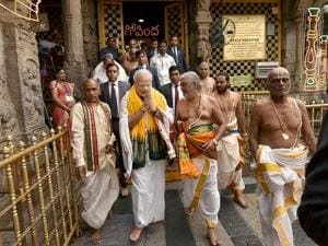 Prime Minister Narendra Modi at the Sri Venkateswara Swamy Temple in Tirupati