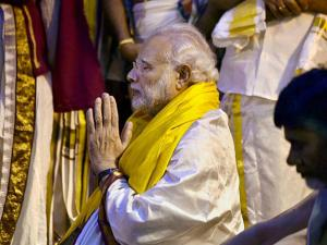 Prime Minister Narendra Modi offers prayers at the Sri Venkateswara Swamy Temple