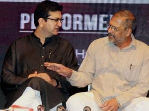 Prasoon Joshi and actor Nana Patekar during the event organised to discuss views on 'My Idea of India'