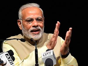 Narendra Modi addresses during the launch of book