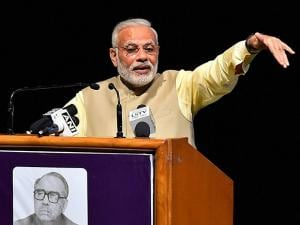 Narendra Modi addresses during the launch of Shraddheya Kidarnath Sahni Smriti Granth