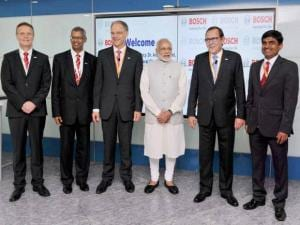 Prime Minister Narendra Modi posing for a group photo