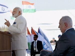 Narendra Modi delivering his press statement on arrival, in Tel Aviv, Israel