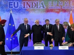 PM Narendra Modi along with European leaders after the signing of Meto Rail MOU in Brussels