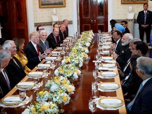 President Donald Trump speaks during a dinner with Prime Minister Narendra Modi