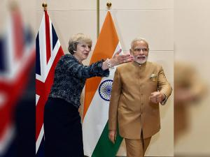 PM Narendra Modi with Theresa May  during a bilateral meeting