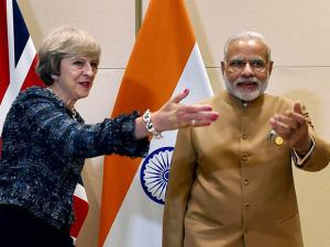 PM Narendra Modi with  UK Prime Minister Theresa May  during a bilateral meeting