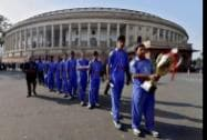 Indian Blind Cricket Team visits the Parliament after winning the Blind Cricket World Cup during the Winter Session