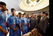 the felicitation of Indian Blind Cricket team on winning the Blind Cricket World Cup, 2014