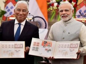 Prime Minister Narendra Modi with his Portugal counterpart Antonio Costaduring release stamps during Exchange of Agreements and Press Statements
