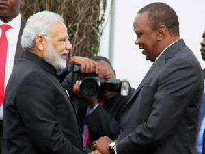 Prime Minister Narendra Modi is greeted by the President of Kenya, Uhuru Kenyatta