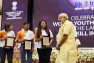 Prime Minister Narendra Modi felicitating worldskills Oceania winners