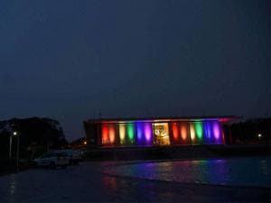 US Embassy celebrates the LGBT Pride Month with lighting the Embassy Bulding in Ranbow colors while the American flag is flown at half staff to mourn the massacre at an Orlando nightclub in New Delhi