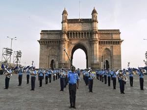 Indian Naval Band rehearses for 'Beating the Retreat'