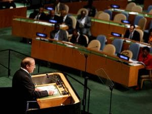 Nawaz Sharif speaks during  United Nations General Assembly