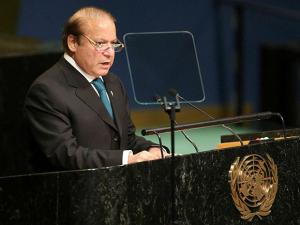 Pakistani Prime Minister Muhammad Nawaz Sharif speaks during the 71st session of the United Nations General Assembly