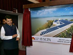 Maharashtra Chief Minister Devendra Fadnavis during the inaugural of the state's largest solar rooftop installation